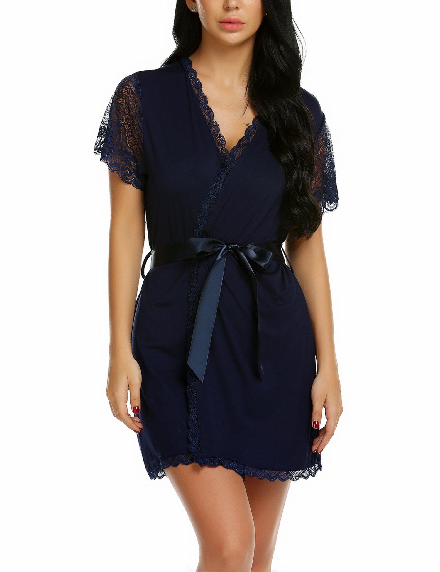 wearella Womens Short Robe Lace Trim Kimono Spa Knit Bathrobe Lightweight Loungewear Sleepwear Short