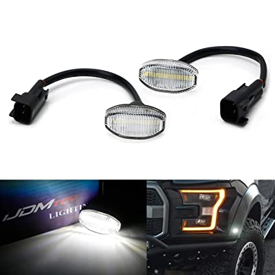 iJDMTOY Clear Lens White Full LED Front Fender Flare Side Marker Light Kit Compatible With 2010-14 Ford Raptor, Powered by 12-SMD LED, Replace OEM Sidemarker Lamps: Automotive [5Bkhe1011816]