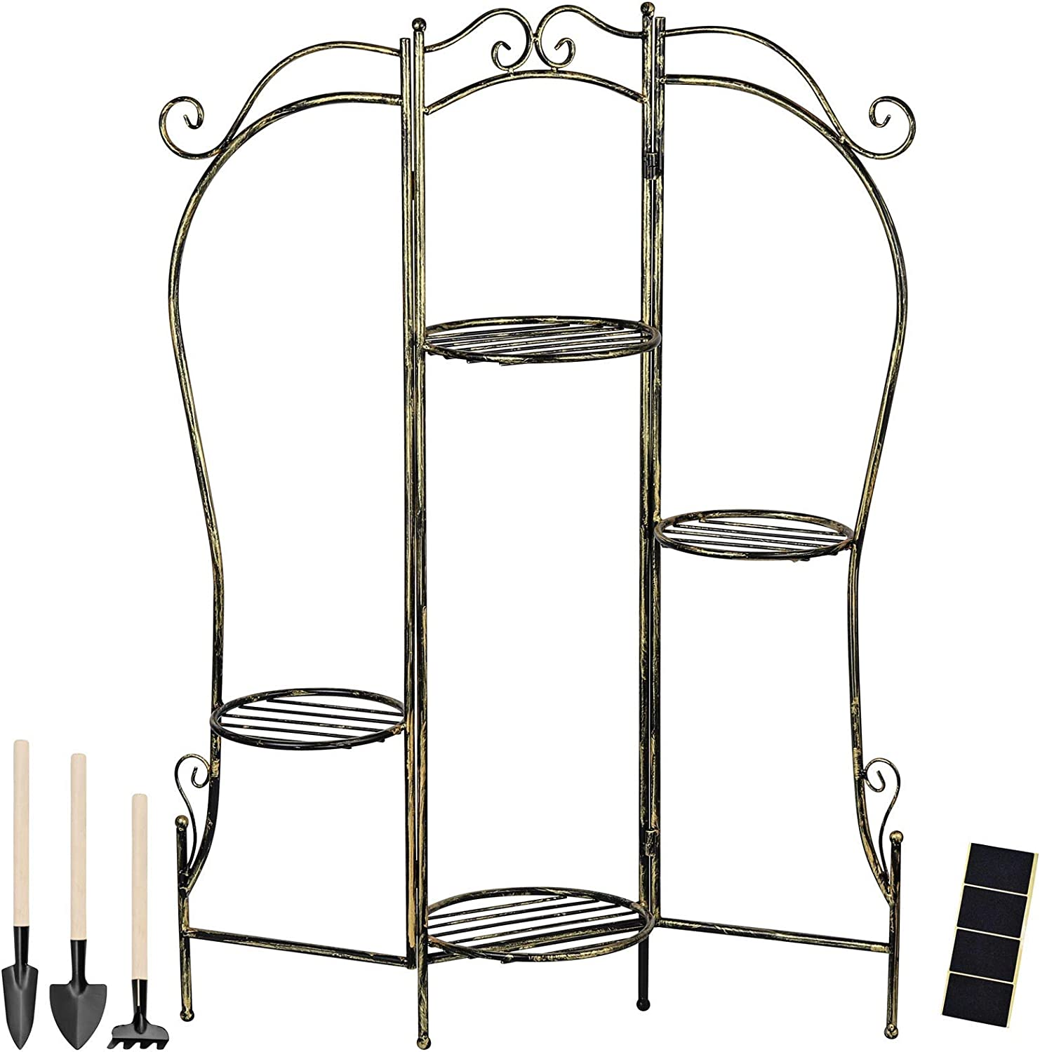 Retro Plant Stand/Shelves, Foldable Planter Display, Flower Pot Organizer Storage Rack for Indoor Outdoor
