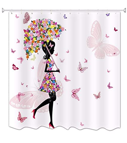 A.Monamour Paraguas Floral Rosa Chica Mariposa Con Vestido De Flores Blancos Imprimir Impresión Impermeable