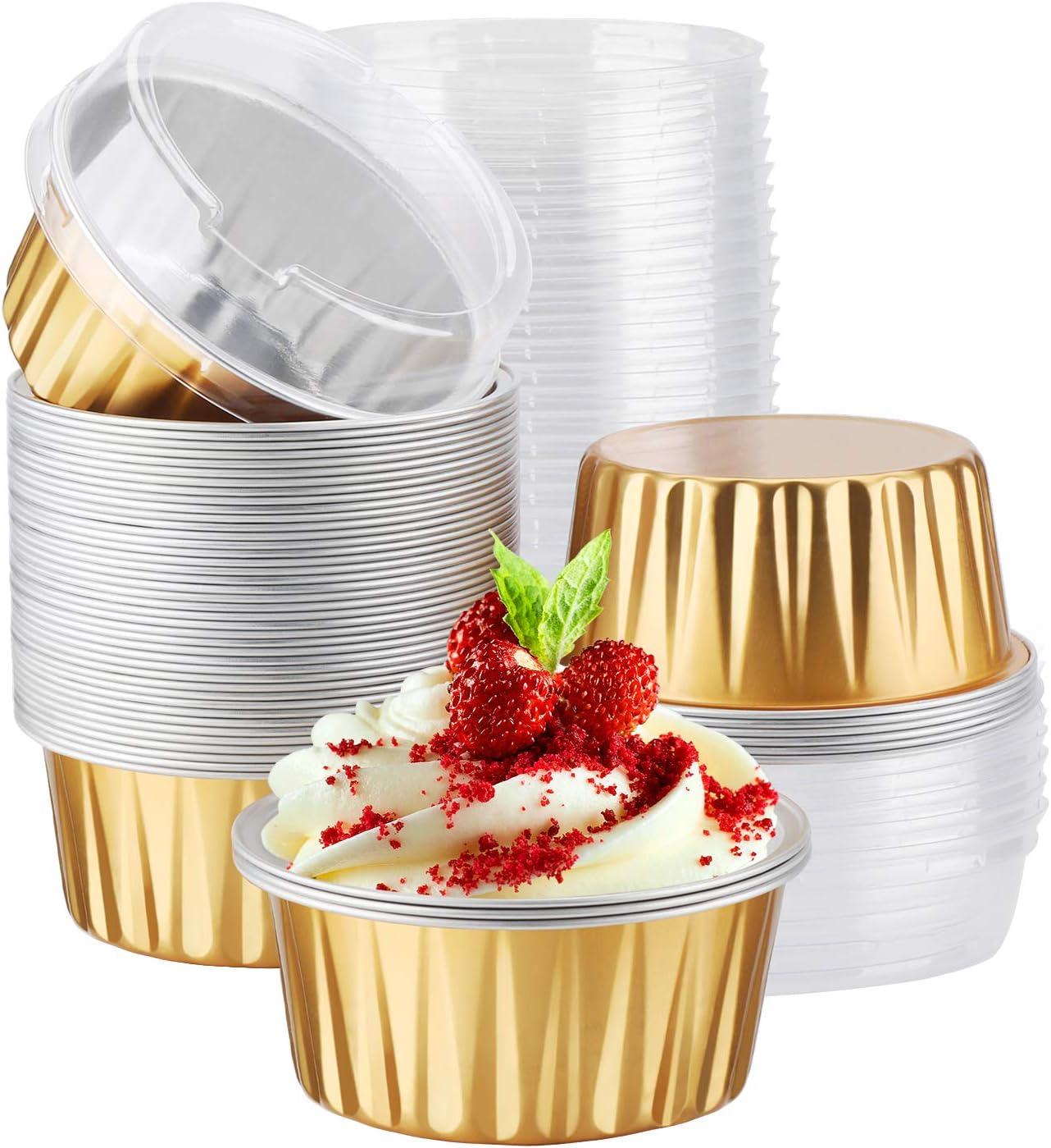 Aluminum Cupcake liners, Eusoar 50pcs 5oz 125ml Muffin Liners Cups with Lids, Disposable Foil Ramekins, Aluminum Foil Baking Cups, Cupcake Baking Cups, Aluminum Foil Cupcake Holders Pans