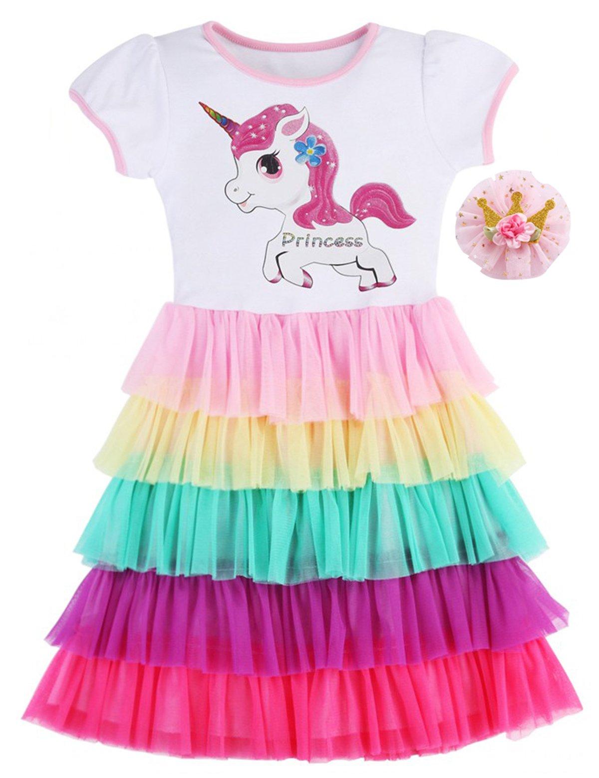 Fubin Girls Unicorn Tutu Dress Summer Clothes,Princess Crown,3-4 Years(Size 110)