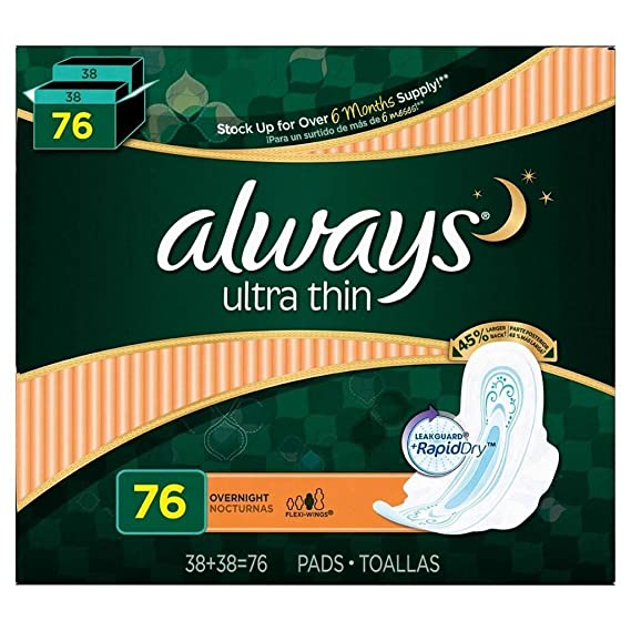 Amazon.com: 6 Wholesale Lots Always Overnight Ultra Thin Pads with Flexi Wings, 456 Pads Total: Sports & Outdoors