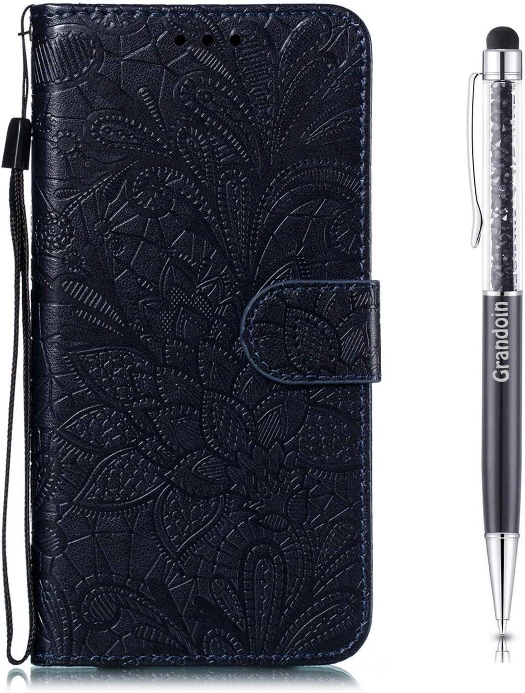 Azul Oscuro PU Cuero Case Cuerpo Completo Carcasa Protectora Cartera Soporte Plegable Funci/ón Fundas Case Cover Grandoin Funda para Samsung Galaxy A2 Core