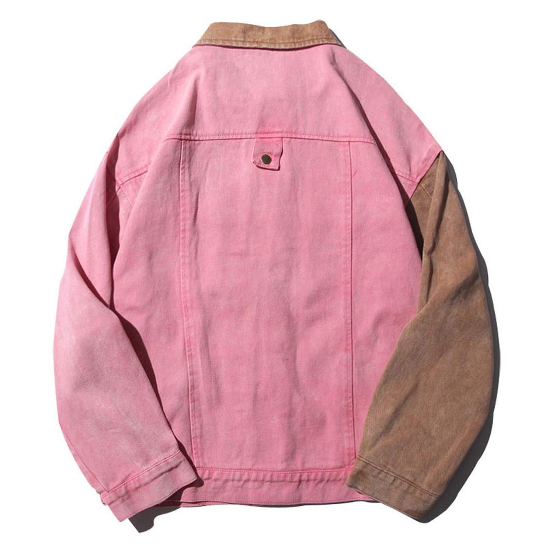 34bc3e311 Vintage Block Patchwork Pink Denim Jackets Men Hip Hop Bomber Jean ...