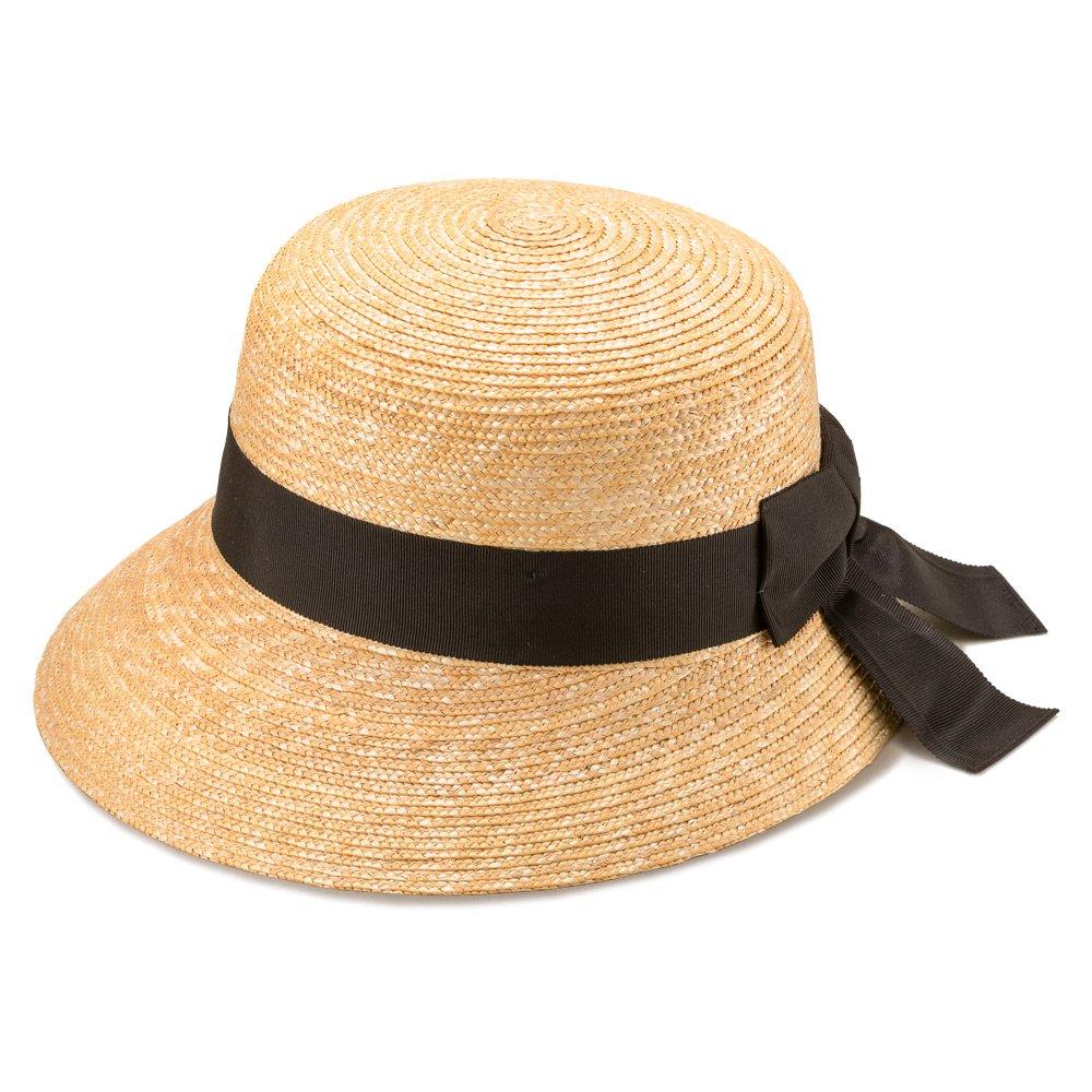 (田中帽子店) UKH008 Anne アンヌ つば (短) 中麦 女優帽 58cm 女性 麦わら 帽子 レディース リボン 日よけ 紫外線対策 B01N4TOUCC  ナチュラル