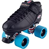 Riedell Black R3 Demon EDM Roller Derby Speed Skates w/ NEW Blue Demon EDM Wheels (95A)
