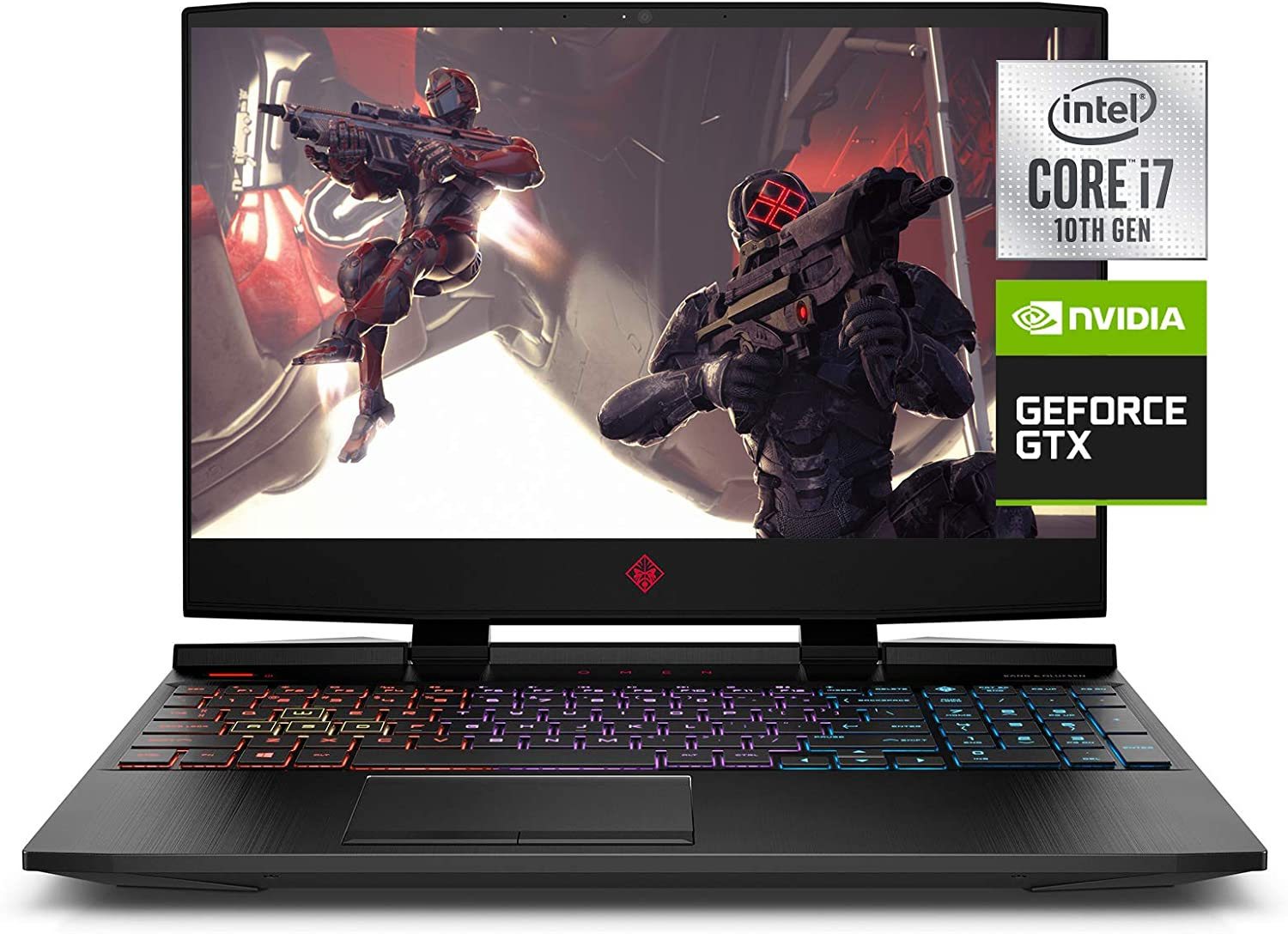 "OMEN 15 Gaming Laptop, NVIDIA GeForce GTX 1650 Ti, Intel Core i7-10750H, 8 GB DDR4 RAM, 512 GB PCIe NVMe SSD, 15.6"" Full HD, Windows 10 Home, RGB Keyboard (15-dc2010nr, 2020 Model)"