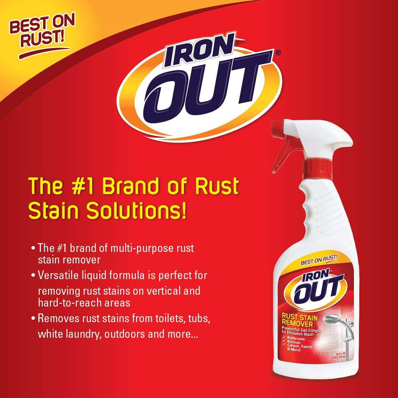 IRON OUT Rust Stain Remover Spray Gel, 16 Fl. Oz. Bottle 6-Pack by IRON OUT