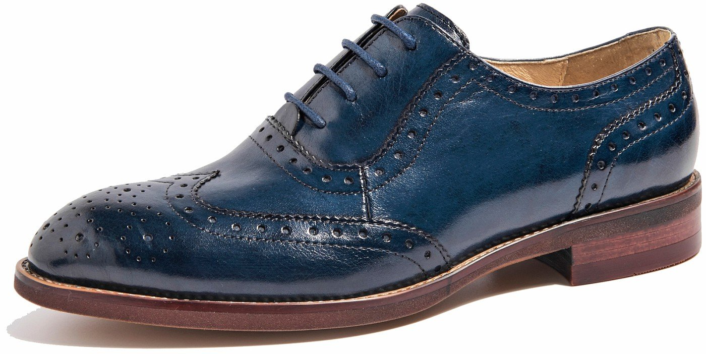 U-lite Blue Perforated Lace-up Wingtip Leather Flat Oxfords Vintage Oxford Shoe Women Blu 8