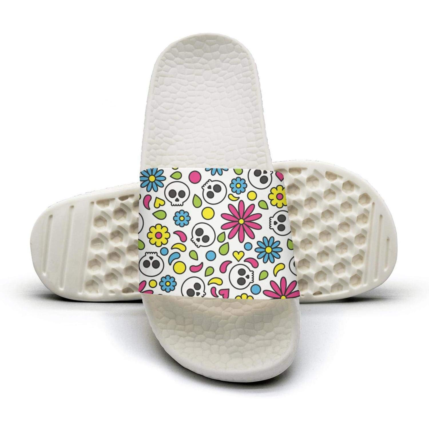 Day of the dead colorful skull with flowers flip flops Slippers for Men