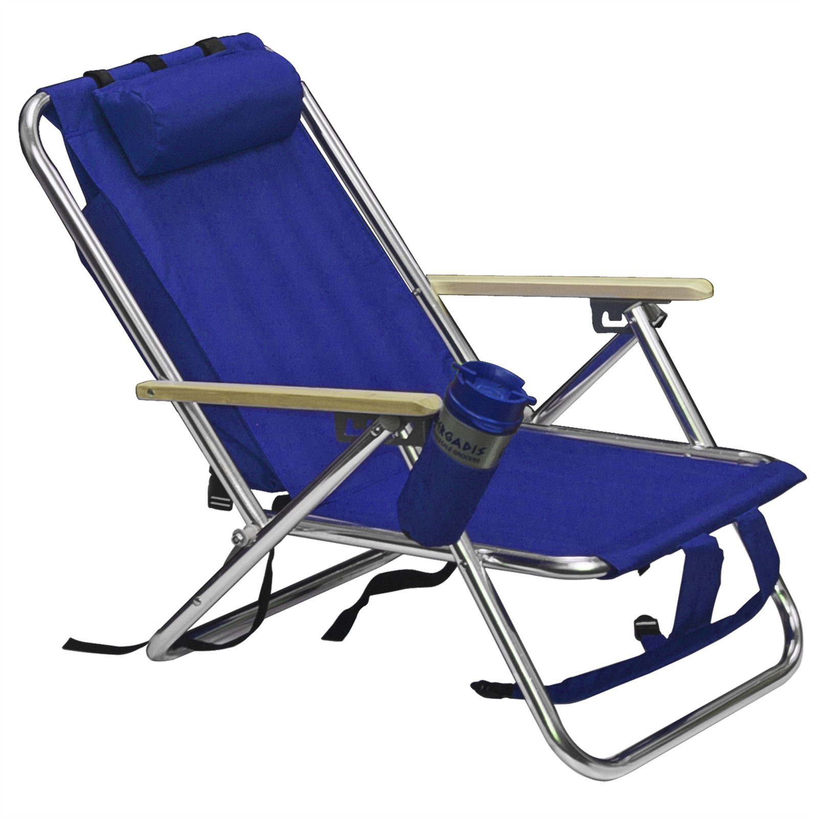 Picotech Backpack Beach Chair Blue Aluminum Powder-coated Frame 600D Polyester Fabric Hardwood Armrest Carrying Straps Heavy Duty Sturdy Durable 4-Position Recline Pillow Versatile Camping Concerts