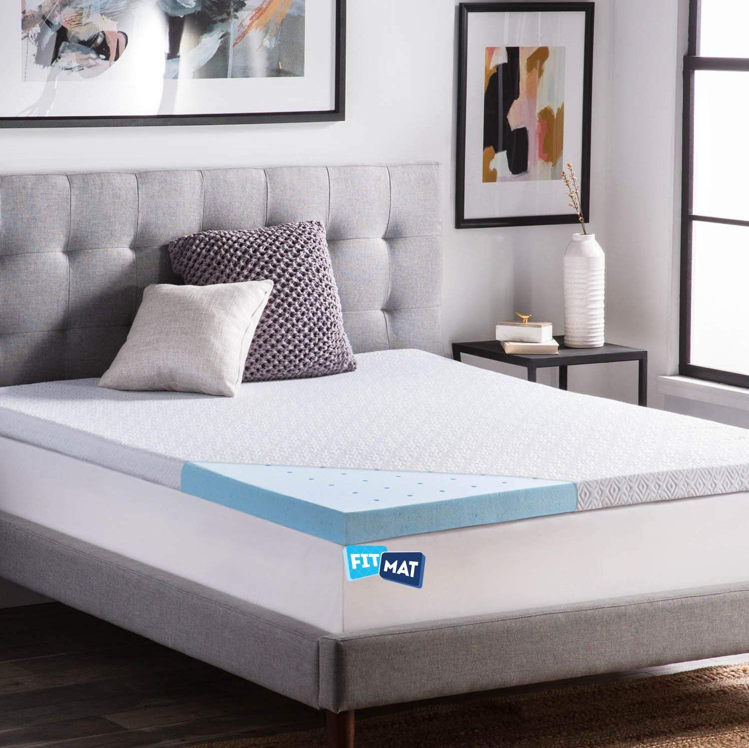 Buy Fitmat Cool Gel Orthopedic Support Memory Foam Mattress Topper Blue 70 X 75 X 2 Online At Low Prices In India Amazon In