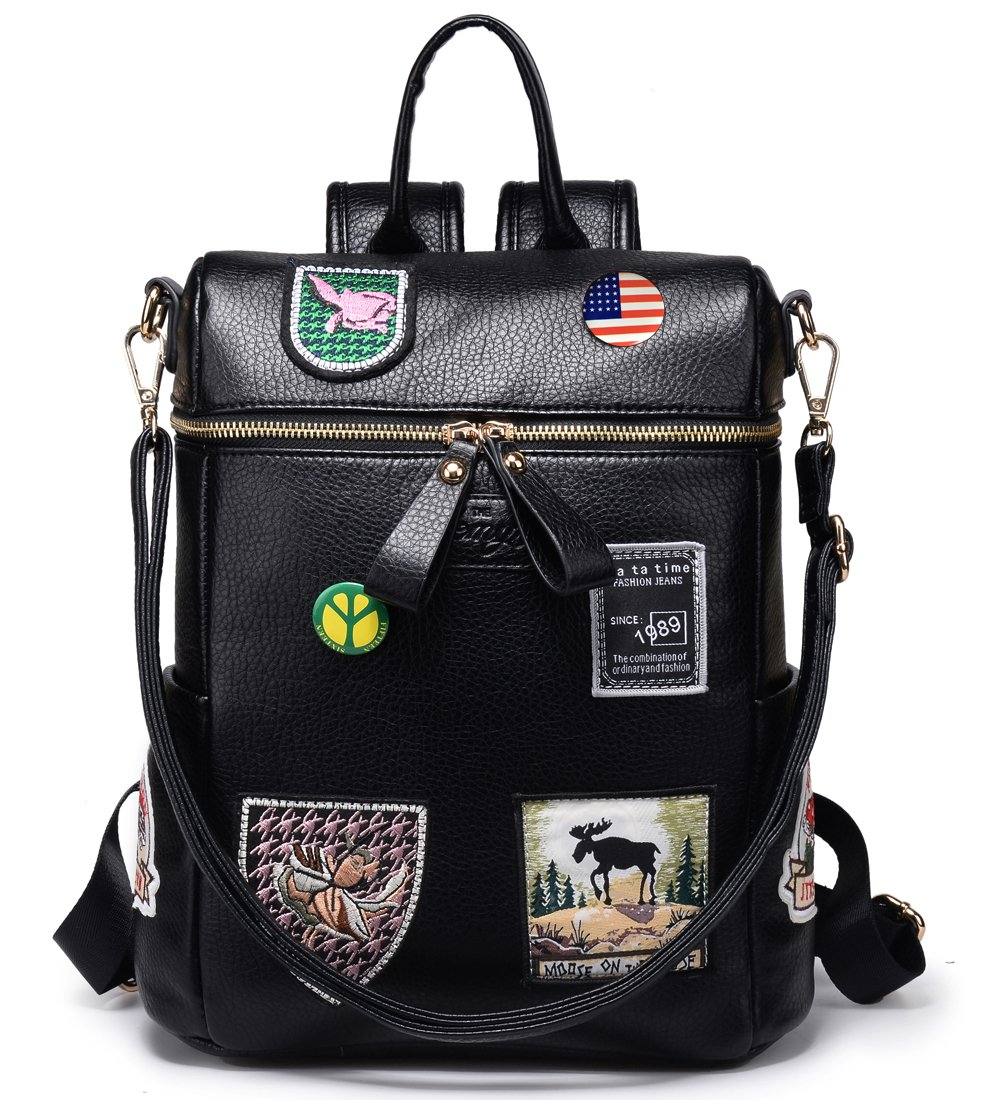 Women Backpack Purse Faux Leather Rucksack Bag for Ladies Small Convertible Bag Travel Handbag, Black by Kemy's (Image #1)