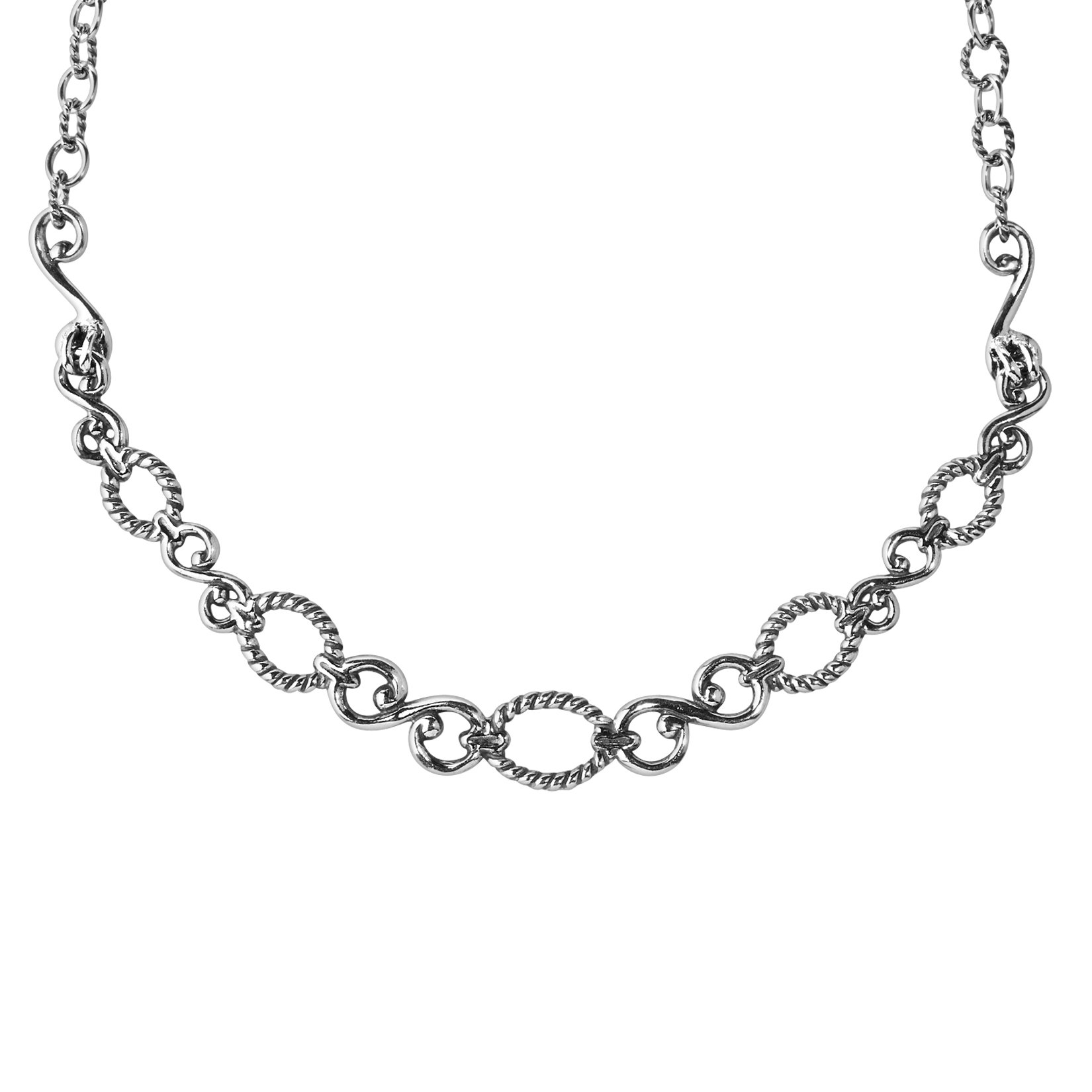 Sterling Silver 17 Filigree Loop Necklace