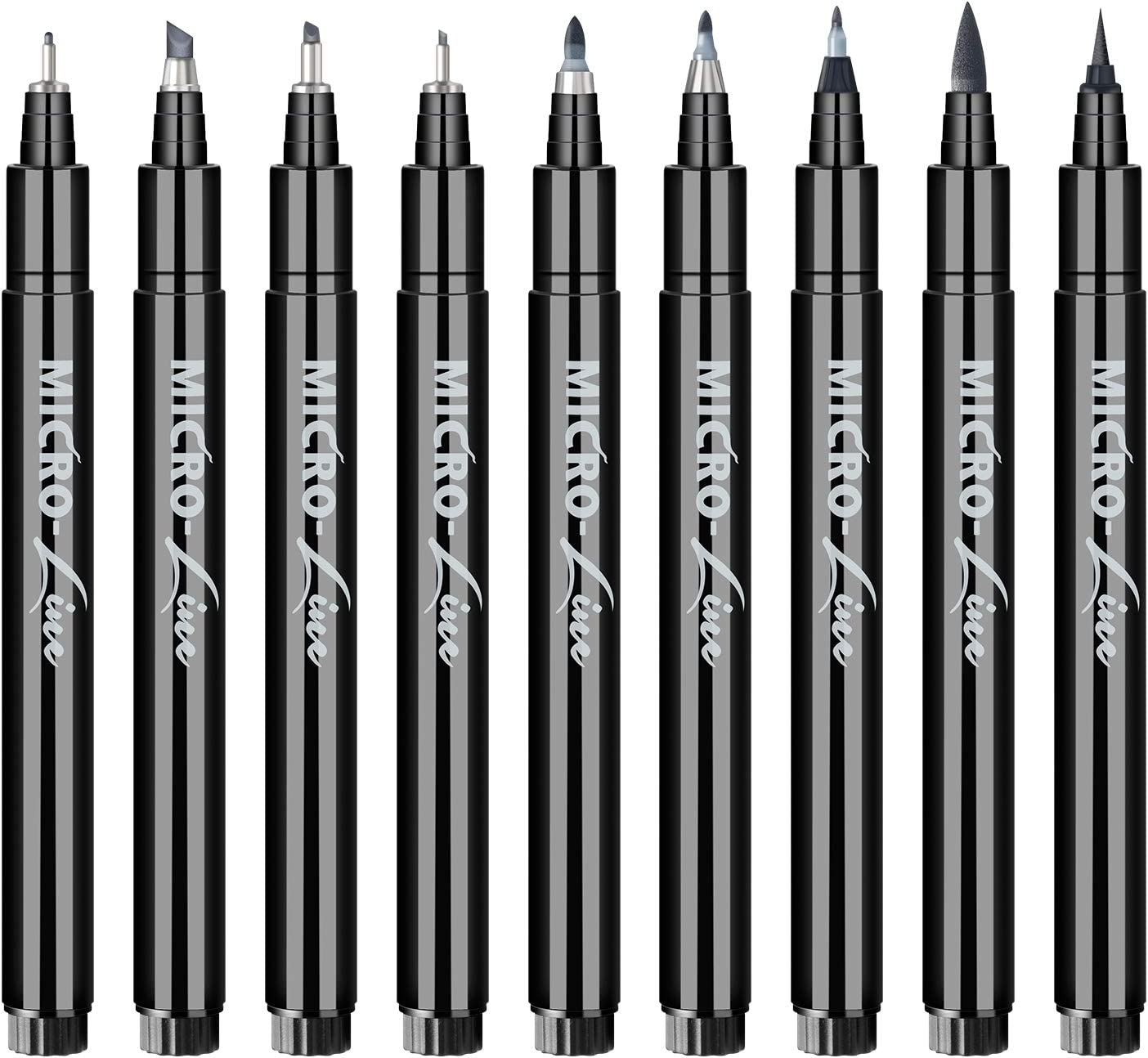 SAKEYR Hand Lettering and Calligraphy Pens: 9 Size Lettering Pens and Markers for Writing Art Drawing Calligraphy Pens for Beginners Sketching Illustrations Signature Black Markers for Drawing