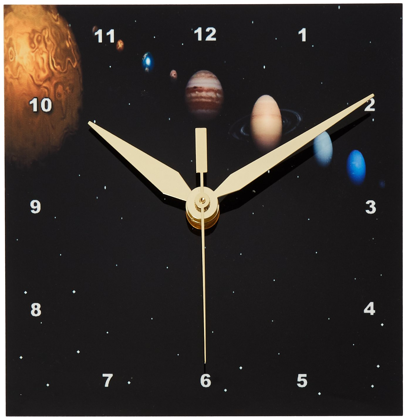 3dRose dc_40282_1 Alignment of Our Solar System-Desk Clock, 6 by 6-Inch