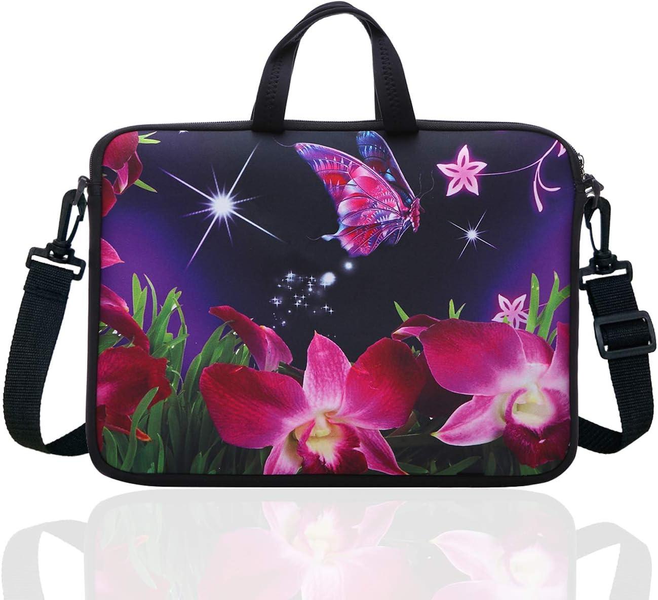 "14 Inch Neoprene Laptop Sleeve Case Bag with shoulder strap For 14"" Notebook/MacBook/Ultrabook/Chromebook (Pink flower)"