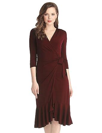 Grapent Womens Burgundy 34 Sleeve Ruffle Surplice Neckline Formal