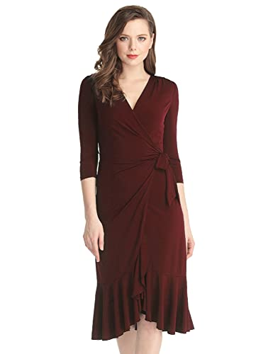 Grapent Women's 3/4 Sleeve Ruffle Surplice Neckline Semi Formal Midi Wrap Dress