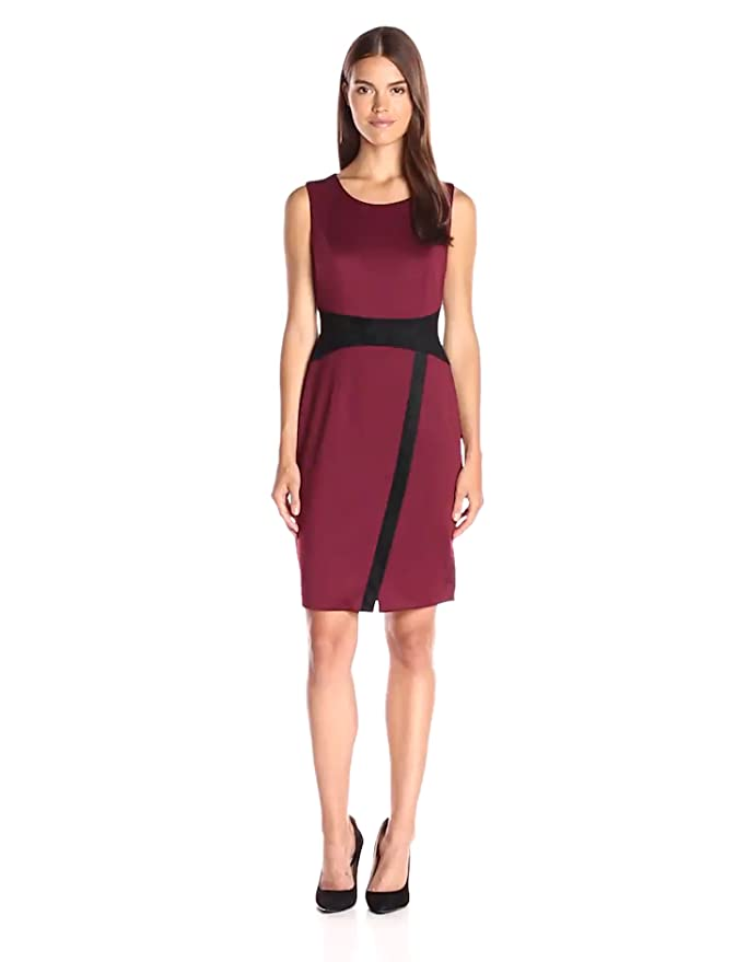 404ebf1bd1a Tommy Hilfiger Women s Sleeveless Scuba Sheath Dress With Suede Detail at  Amazon Women s Clothing store