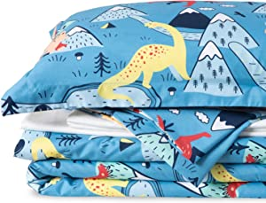 Bedsure Kids Twin Bedding Sets for Boys, Dinosaur Bedding, 5 Pieces Bed in a Bag, Easy Care Super Soft Microfiber Comforter and Sheets Set (Blue,Twin)