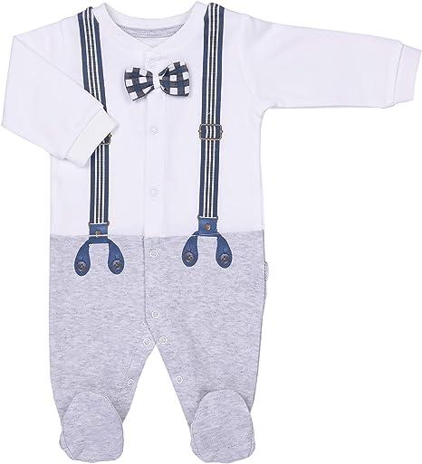 Sevira Kids - Pijama bebé de algodón orgánico, diseño de Monsieur Chic gris gris Talla:1-3M - 56CM: Amazon.es: Bebé
