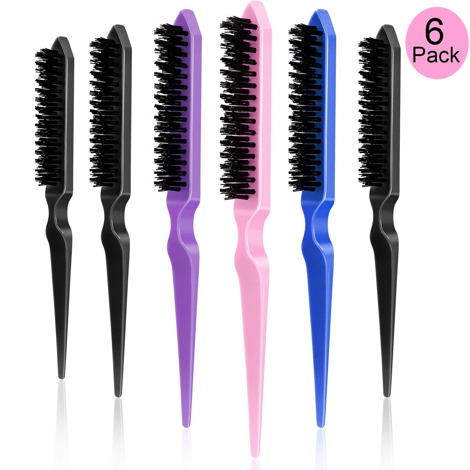 6 Pieces Nylon Teasing Hair Brushes, Three Row Salon Teasing Brush, Rat Tail Combs for Back Combing, Root Teasing to Add Volume and Hair Care Scalp Massage for Hair Growth