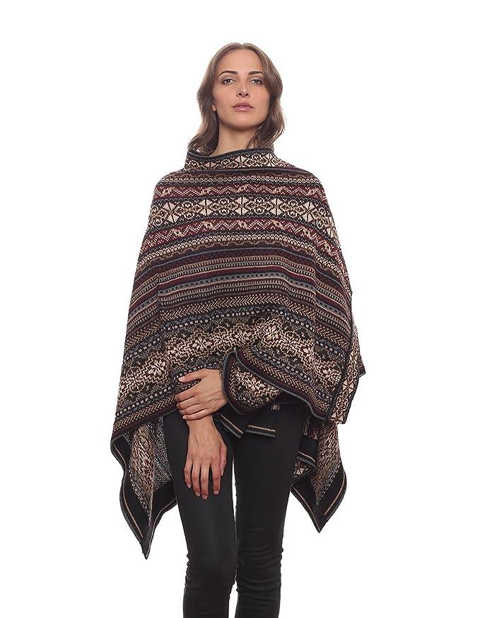 13c98c78e Invisible World Women's Poncho Alpaca Wool 100% Ruana Cape Winter Fall  Huari at Amazon Women's Coats Shop
