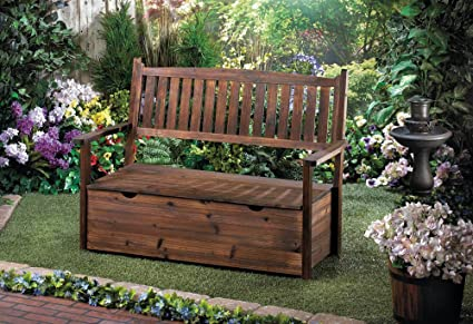 Outstanding Amazon Com Ghp Outdoor Yard Decor Fir Wood Storage Bench Pdpeps Interior Chair Design Pdpepsorg