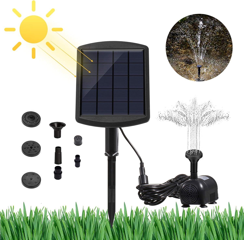 GNEGNI Bombas para Fuentes de Estanque Solar Bombas de Agua, 6V / 1.8W Jardín Paisaje Decorativo Fuente