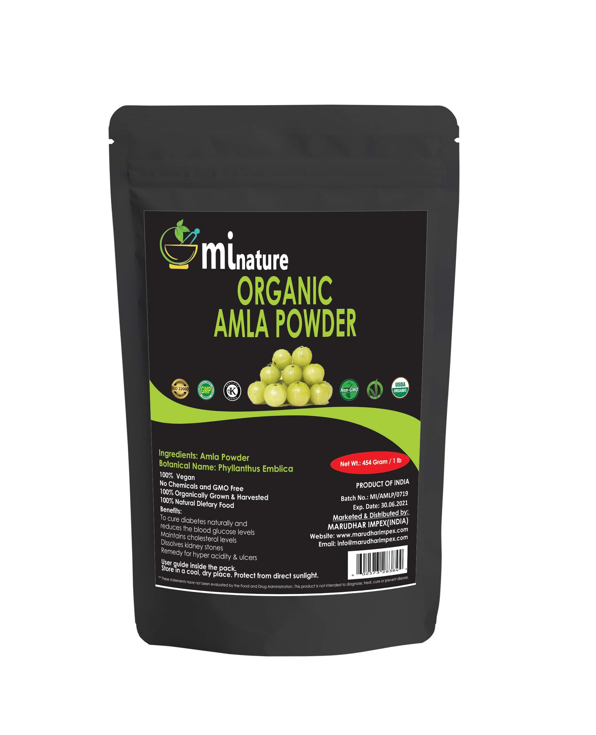 USDA NOP Certified Organic Amla Powder, 100% Organic Indian Gooseberry, Emblica Officinails, Vegan, for Cooling, Skincare, 16oz by mi nature