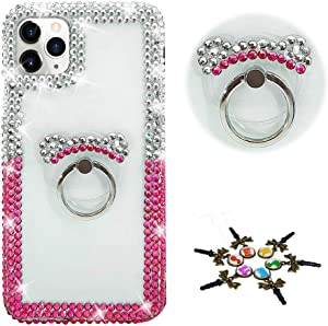 STENES Sparkle Phone Case Compatible with Samsung Galaxy A50 - Stylish - 3D Handmade Bling Crystal Frame Bear Stand Rhinestone Crystal Diamond Design Cover Case - Red&White