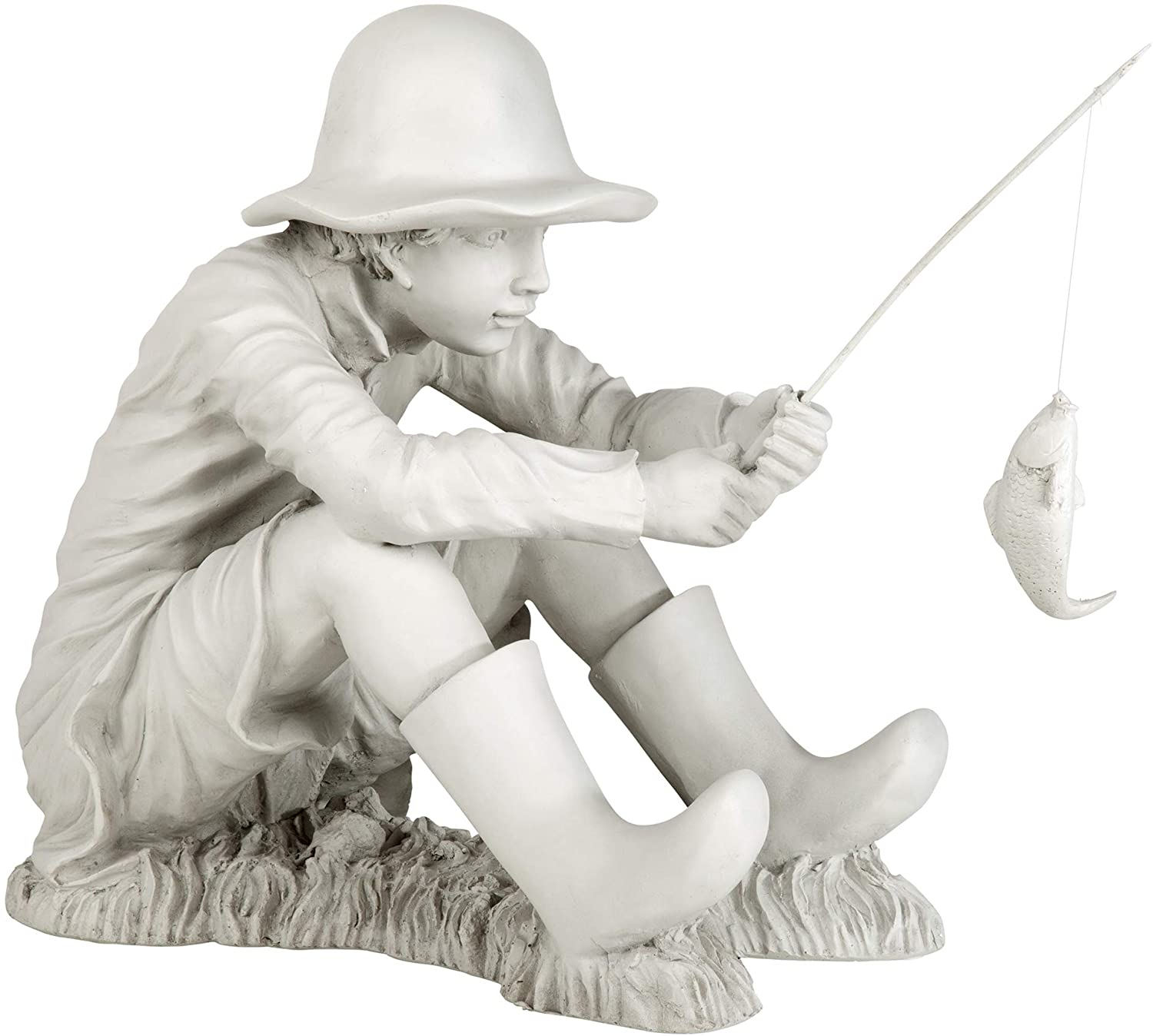 Amazon Com Design Toscano Eu9288 Gone Fishing Fisherman Boy Garden Statue 17 Inch Two Tone Stone Garden Outdoor