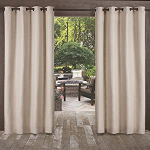 Exclusive Home Curtains Delano Heavyweight Textured Indoor/Outdoor Grommet Top Curtain Panel Pair, 54x96, Taupe, 2 Piece