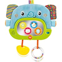 Musical Tummy Time Mirror with Stand and Attachment for Crib, Playgym or Stoller - Soft Elephant Baby Play Floor Mirror…