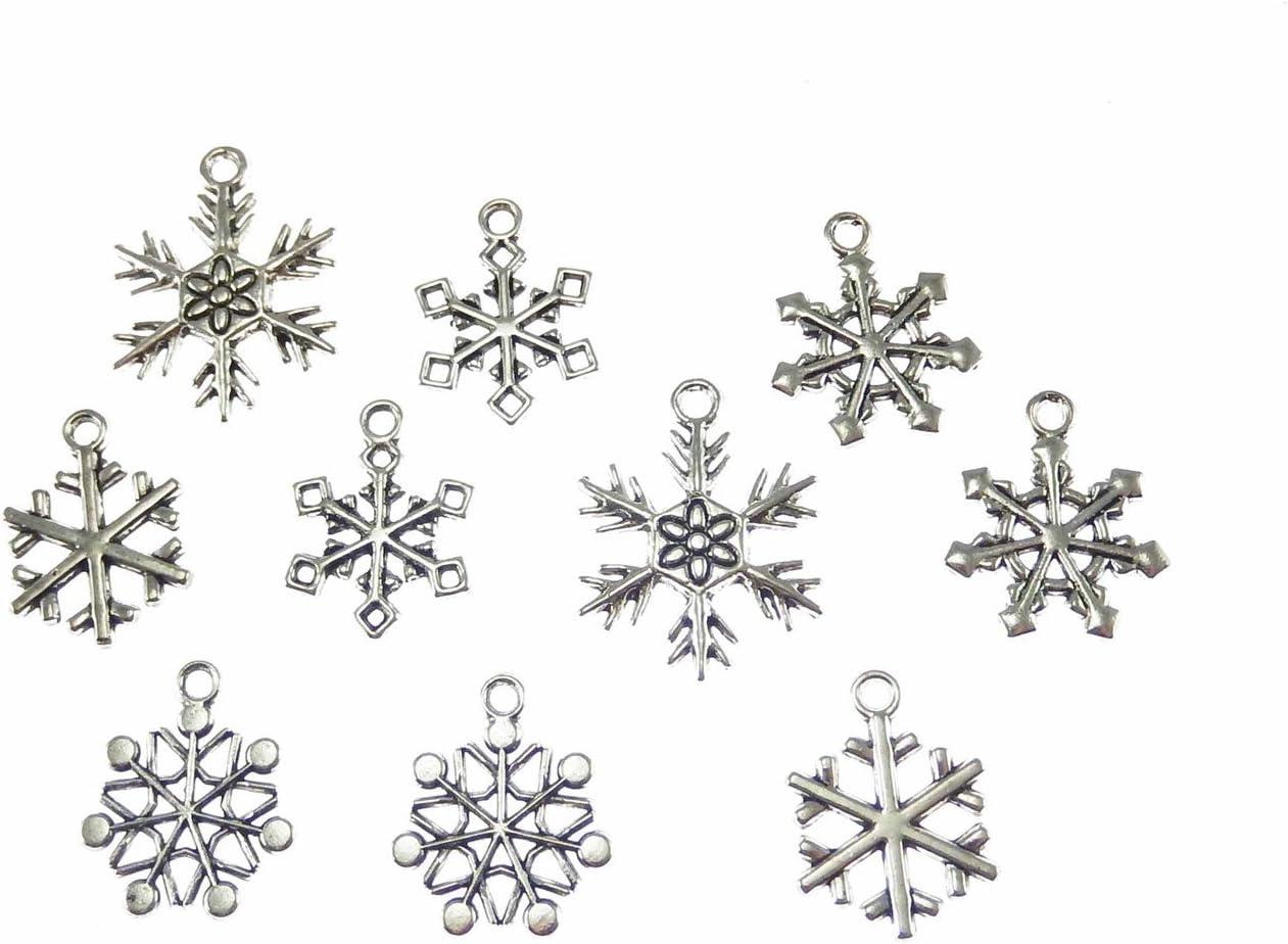 20 Tibetan Silver Christmas Snowflake Charm Pendant for DIY Jewelry Findings