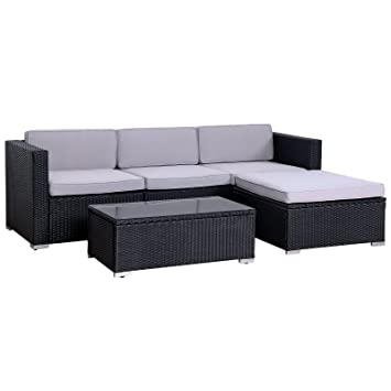 SVITA California Poly Rattan Lounge Gartenset Sofa Set Garnitur Gartenmöbel  Couch Set