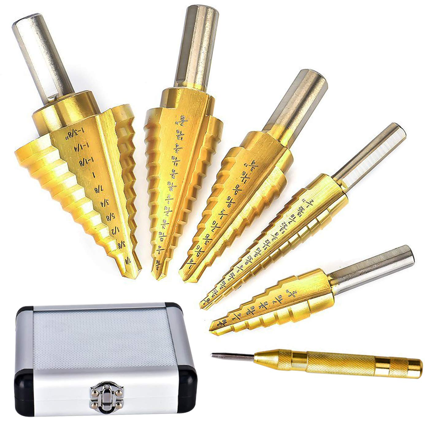 Volterin HSS 5PCS Titanium Step Drill Bit Set with Automatic Center Punch, 50 Sizes in 5 High Speed Steel Drill Bits Set for Sheet Metal with Aluminum Case, Multiple Hole Stepped Up Bits for DIY Lover