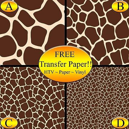 Amazon Giraffe Pattern Printed Heat Transfer Vinyl Style B Amazing Giraffe Pattern