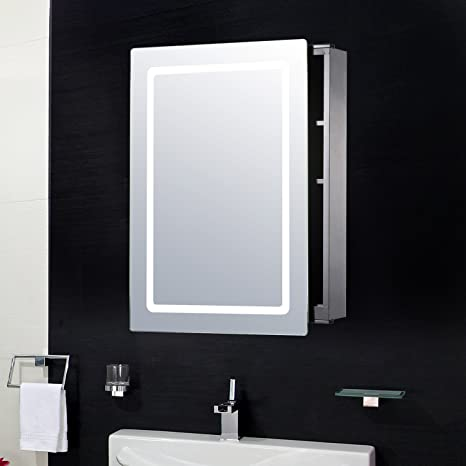 Pensile Specchio Contenitore Per Bagno.Homcom Armadietto Pensile Da Bagno Con Specchio E Luce Led In Acciaio Inox 76 53 13cm
