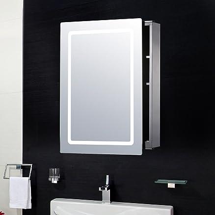 HOMCOM - Armadietto Pensile da Bagno con Specchio e Luce LED in ...
