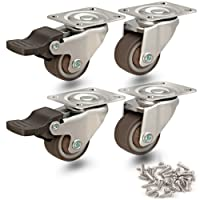 GBL - Lot de 4 Roulettes Pivotantes 25mm Roues Avec Frein Plaques Industrielles Roue pour Meuble / Transport - Heavy Duty Roulette