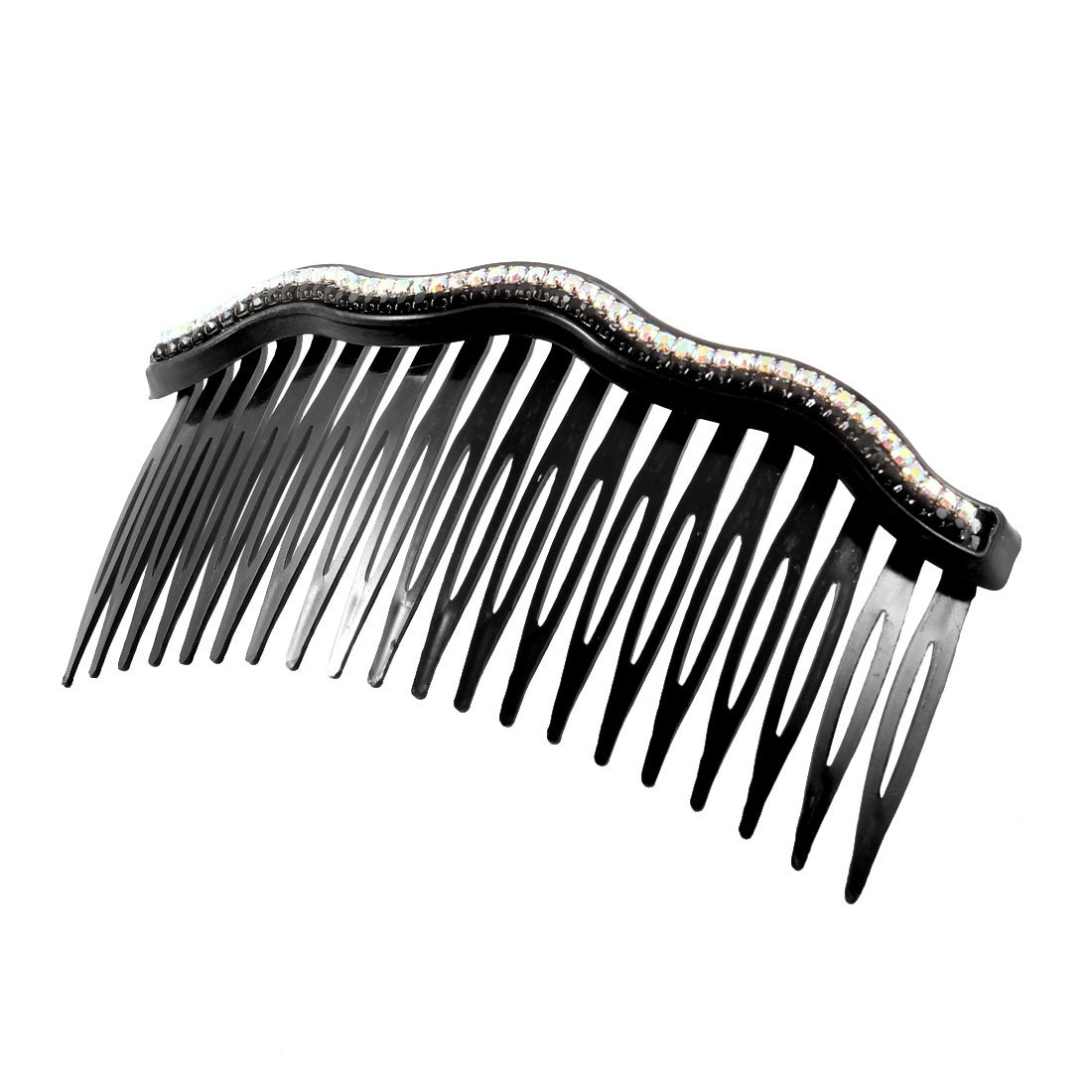 uxcell Plastic Lady Women Artificial Rhinestones Inlaid 20 Tooth Hair Comb Clip Black a13110400ux0931
