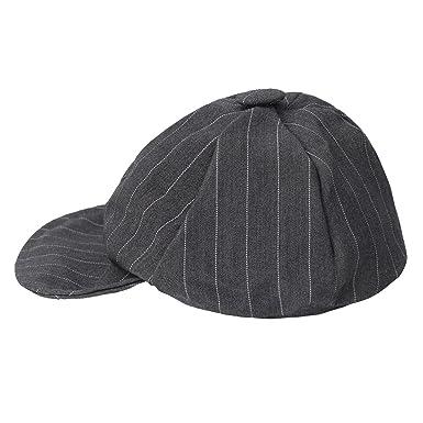 2119b725584 Freebily Baby Boys Gentlemen Striped Duck Bill Hat Cap Sun Hat Gray 0-6  Months