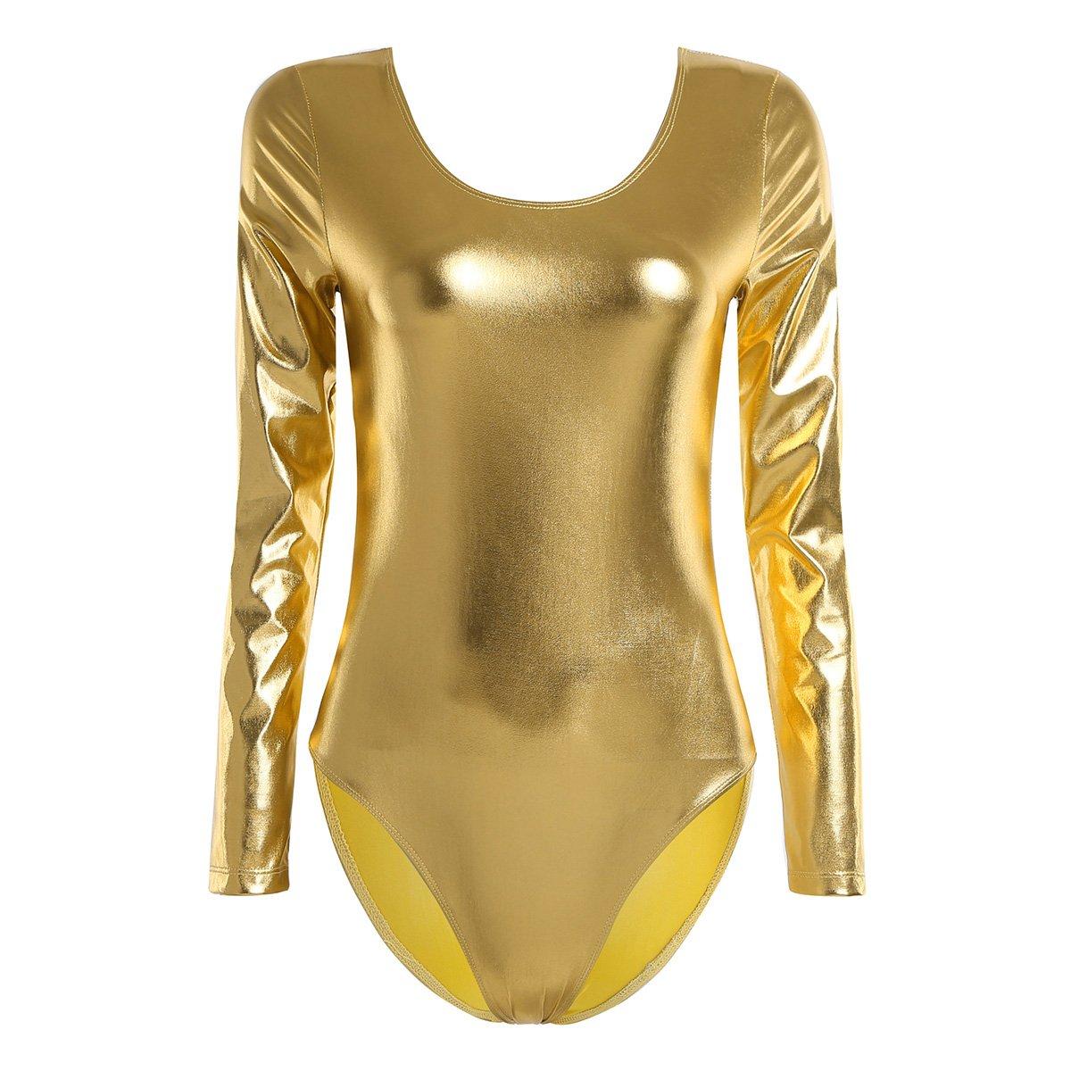 iEFiEL Damen Ballettanzug Langarm Body Gymnastikanzug Wetlook Ballett Trikot Einteiler Body Bodysuit