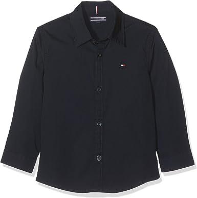 Tommy Hilfiger Boys Solid Stretch Poplin Shirt L/S Blusa para Niños: Amazon.es: Ropa y accesorios