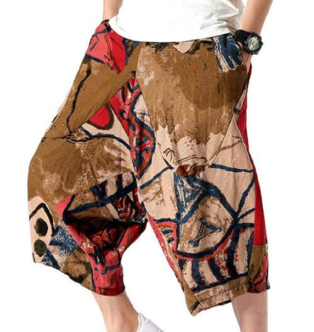 SELX Men Cropped Pants Harem Casual Drop Crotch Pants Trousers with Pockets