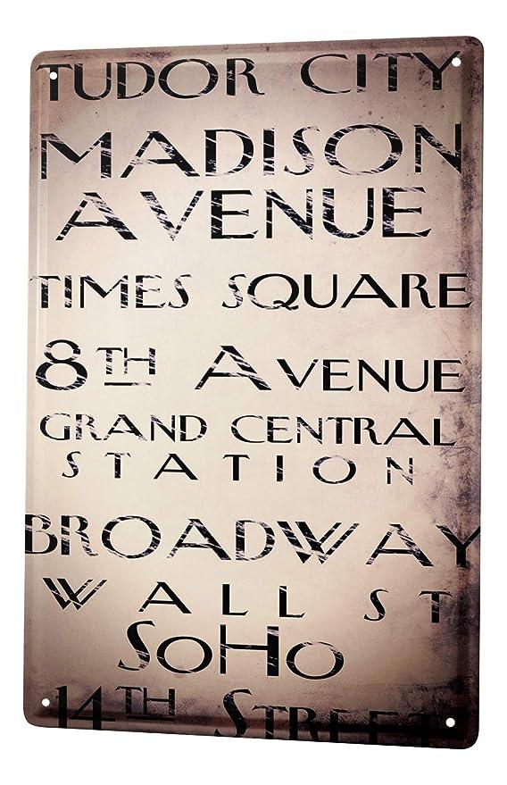 Cartel Letrero de Chapa XXL Deco Ciudad Calles de Manhattan ...