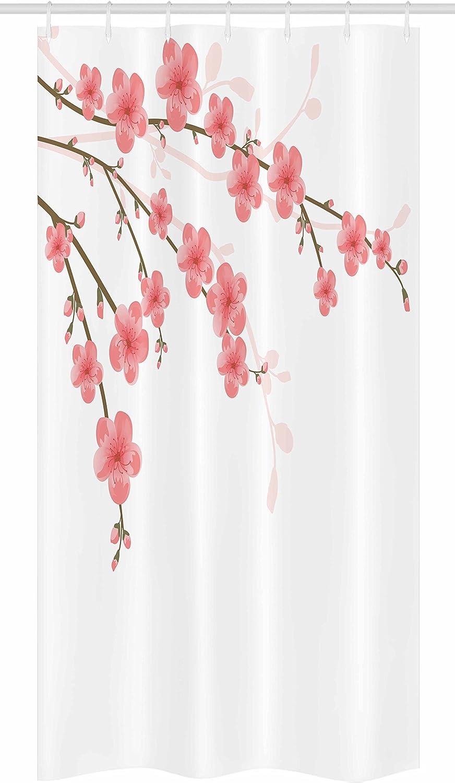 Ambesonne Floral Stall Shower Curtain, Cherry Blossom April Springtime Romantic Feminine Illustration Artwork Soft Colors, Fabric Bathroom Decor Set with Hooks, 36